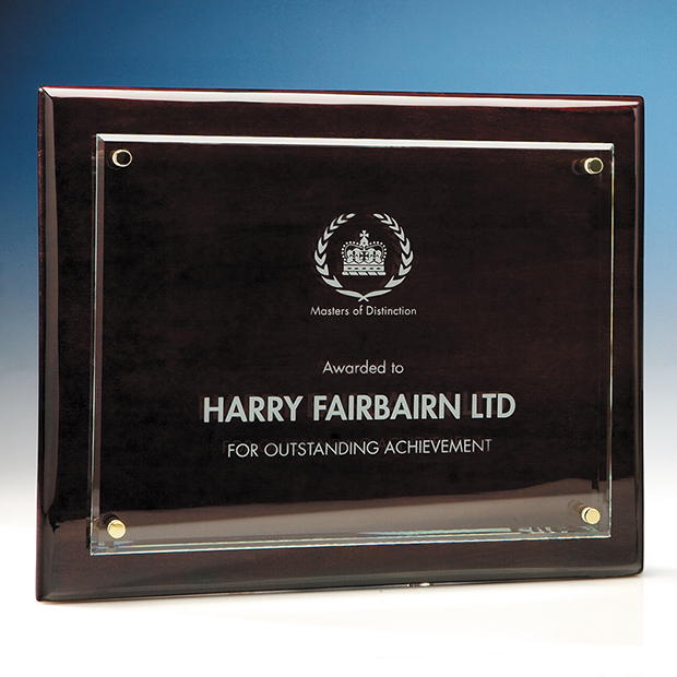 Clear Rectangle mounted on a Rosewood Plaque - T6706