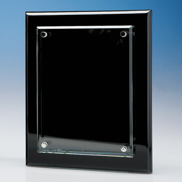 Clear Rectangle mounted on a Black Wood Plaque - T6713