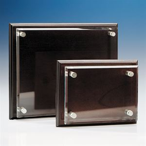 Clear Rectangle mounted on a Mahogany Plaque - IR1