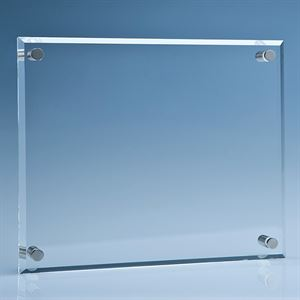 Clear Glass Wall Display Plaque inc Fixing Kit - IR8