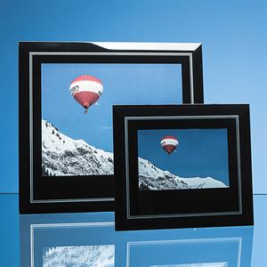 Black Surround with Silver Inlay Glass Frame for Landscape Photo - PG225