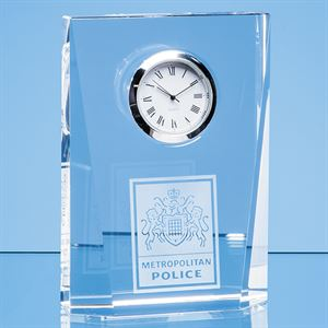 Optical Crystal Bevelled Rectangle Clock - EUR104