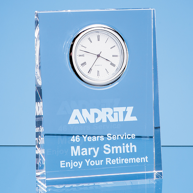 Optical Crystal Tapered Rectangle Clock - EUR109