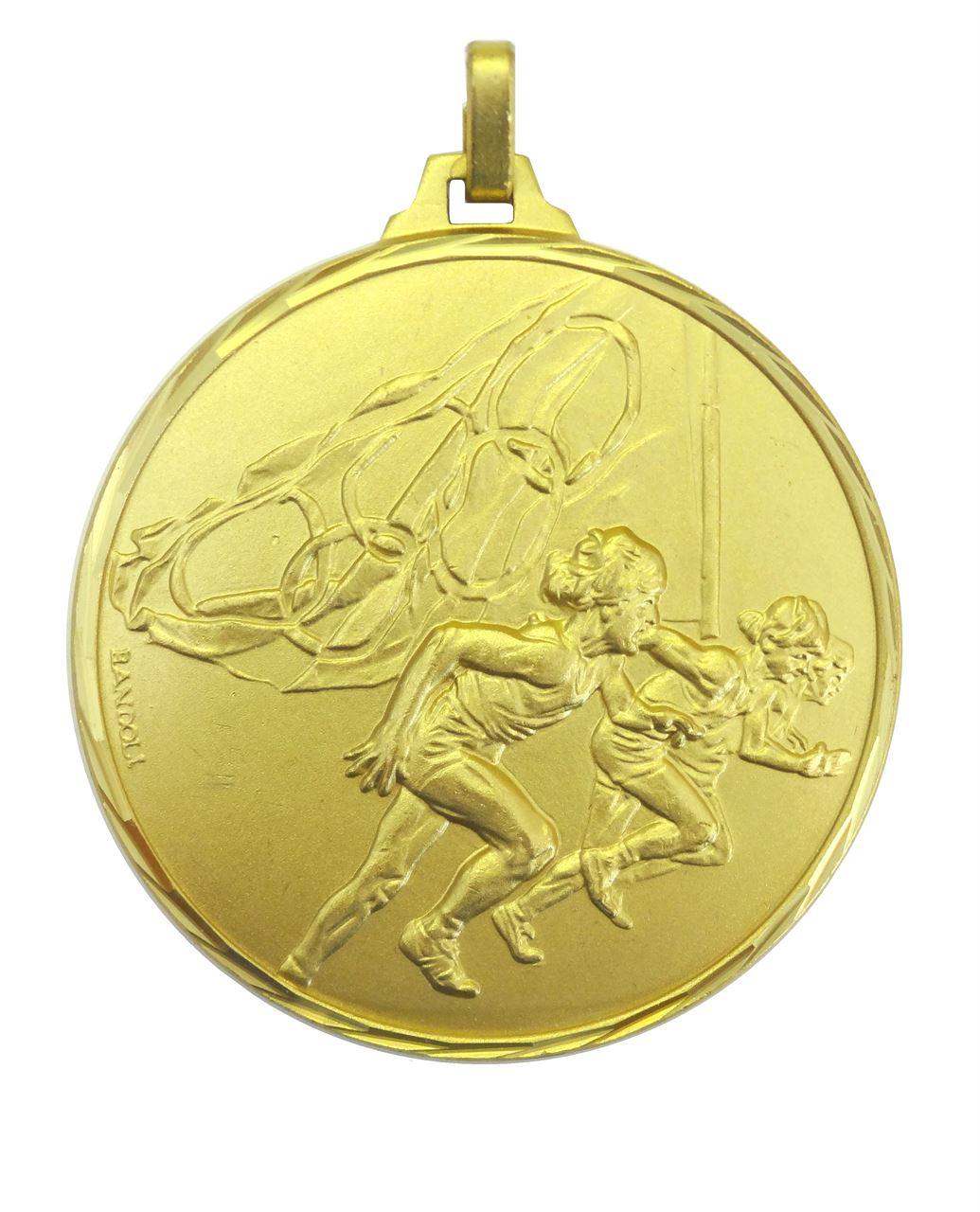 Gold Faceted Olympic Flag Athletes Medal (size: 42mm) - 222F/42G