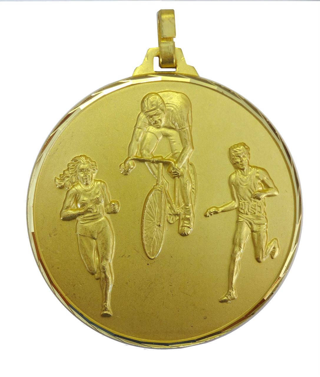 Gold Faceted Cycle & Run Biathlon Medal (size: 42mm) - 338F/42G