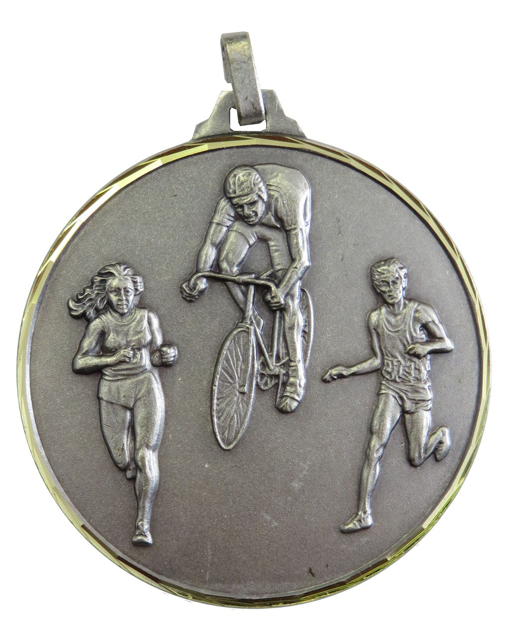 Silver Faceted Cycle & Run Biathlon Medal (size: 42mm) - 338F/42S