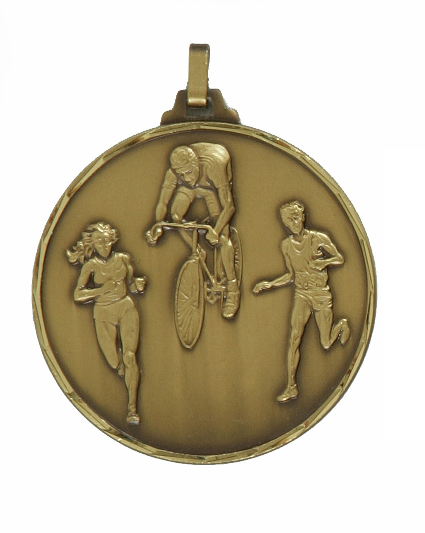 Bronze Faceted Cycle & Run Biathlon Medal (size: 42mm) - 338F/42B