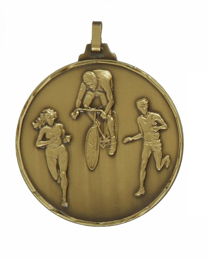 Bronze Faceted Triathlon Medal (size: 52mm) - 338F/52B
