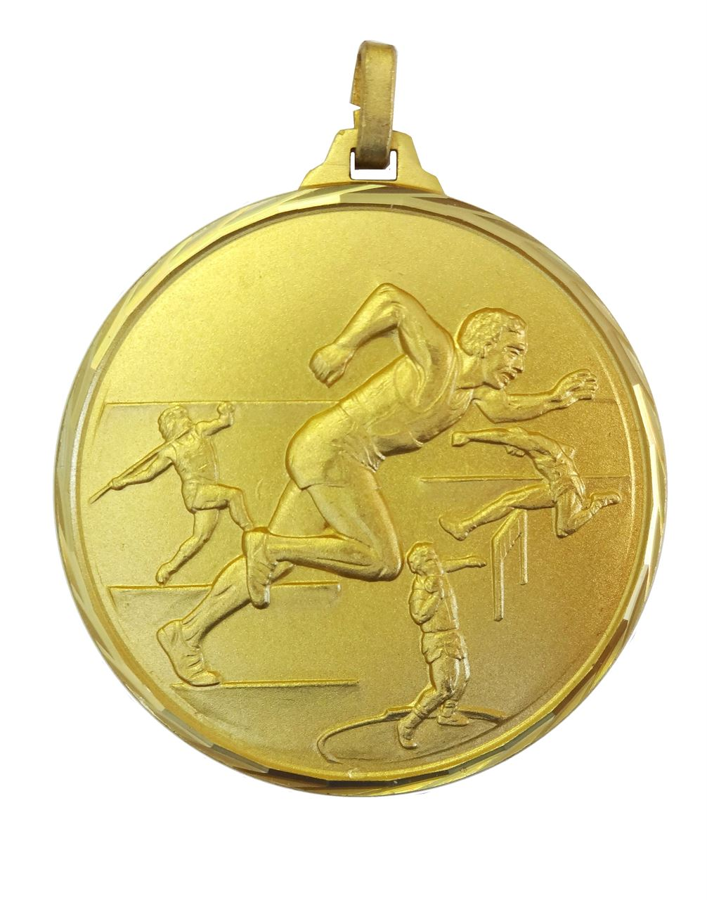 Gold Faceted Track & Field Medal (size: 52mm) - 370/52G