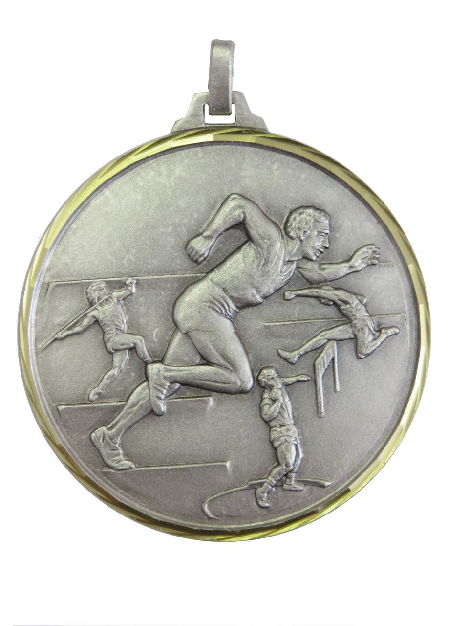 Silver Faceted Track & Field Medal (size: 52mm) - 370/52S