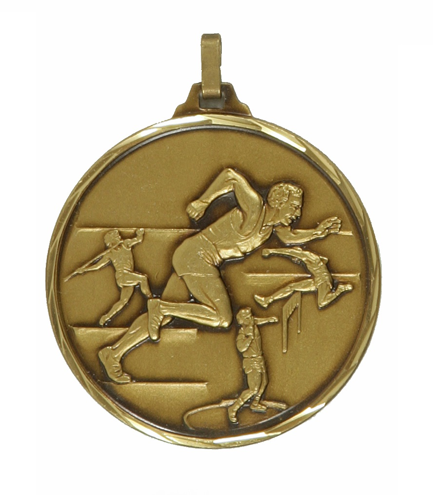 Bronze Faceted Track & Field Medal (size: 52mm) - 370/52B