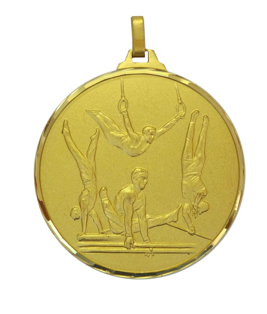 Gold Faceted Male Gymnastics Medal (size: 52mm) - 413/52G