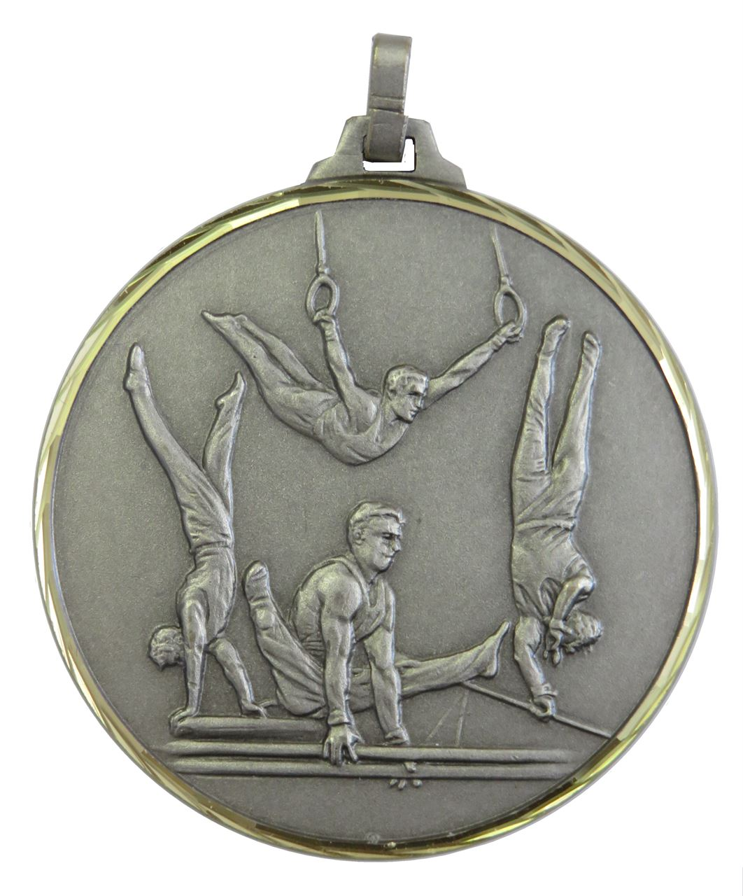 Silver Faceted Male Gymnastics Medal (size: 52mm) - 413/52S