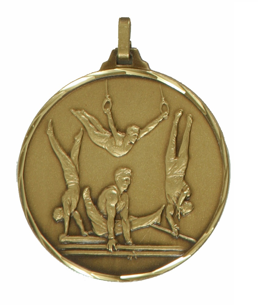 Bronze Faceted Male Gymnastics Medal (size: 52mm) - 413/52B