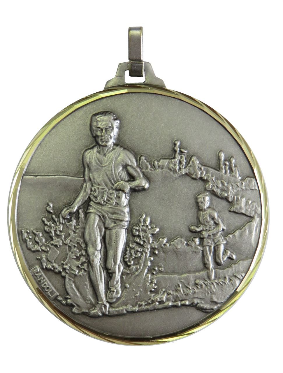 Silver Faceted Cross Country Medal (size: 42mm) - 114/42S