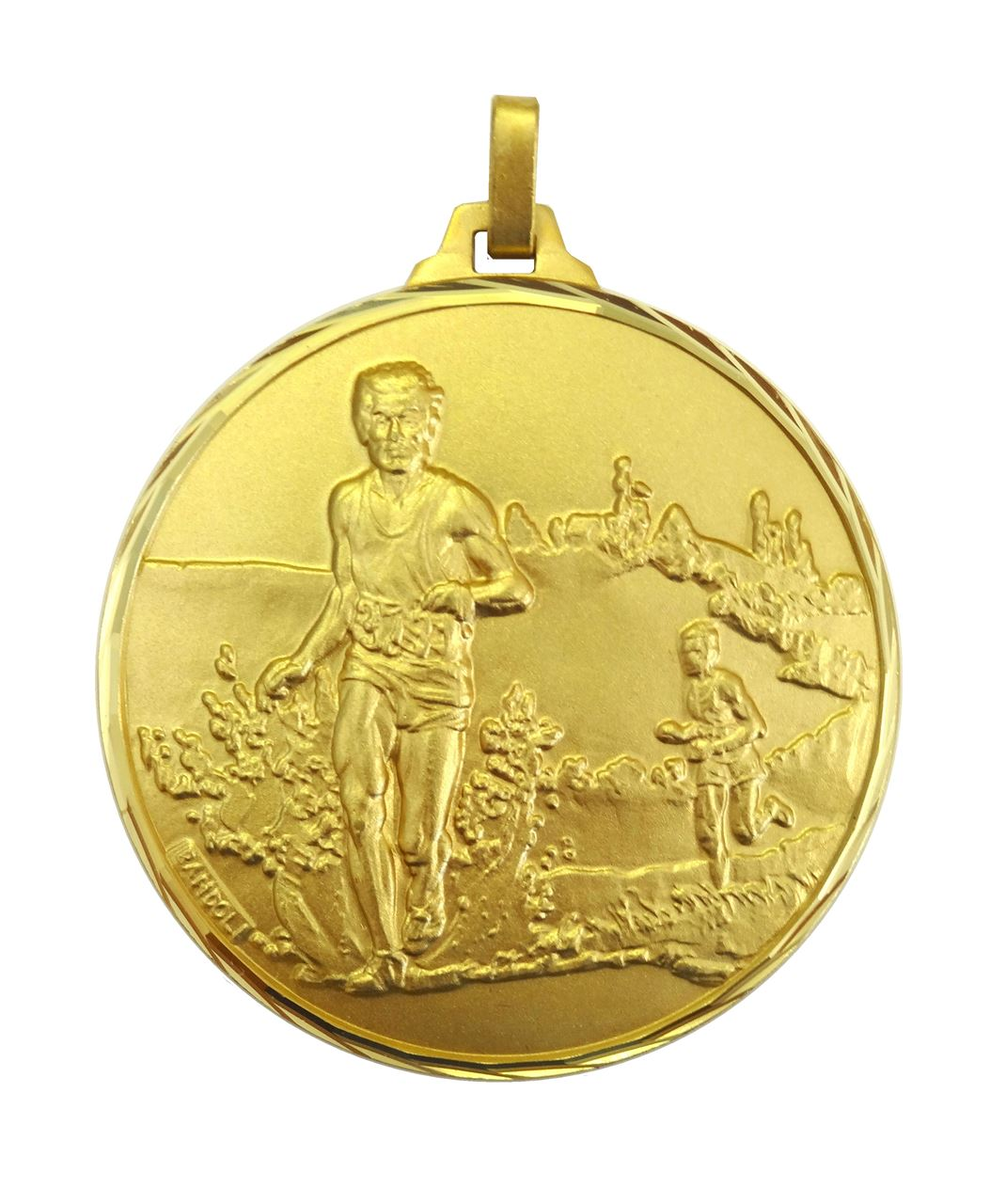 Gold Faceted Cross Country Medal (size: 42mm) - 114/42G
