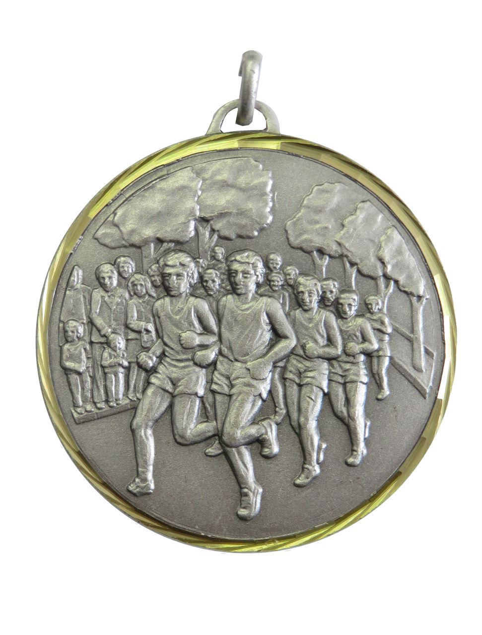 Silver Faceted Cross Country Medal (size: 42mm) - 397/42S