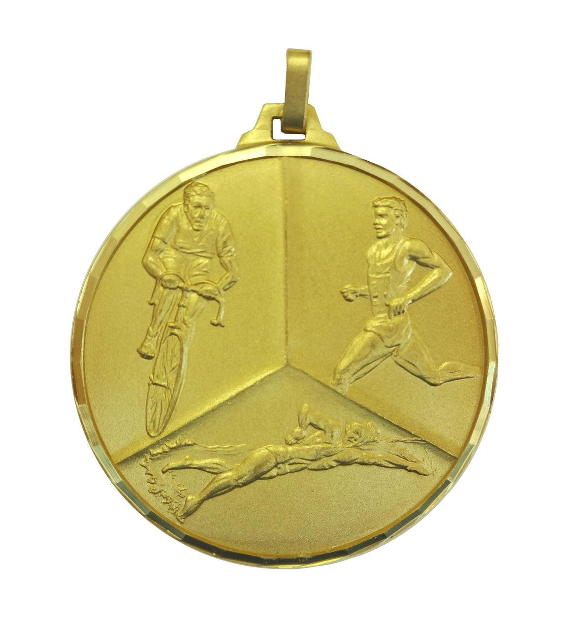 Gold Faceted Triathlon Medal (size: 42mm) - 339F/42G