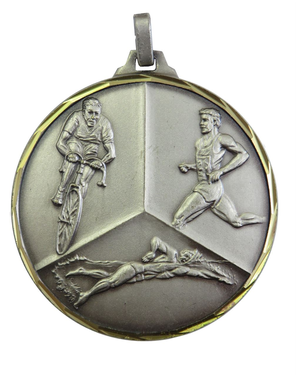 Silver Faceted Triathlon Medal (size: 42mm) - 339F/42S