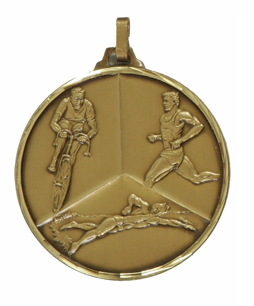 Bronze Faceted Triathlon Medal (size: 42mm) - 339F/42B
