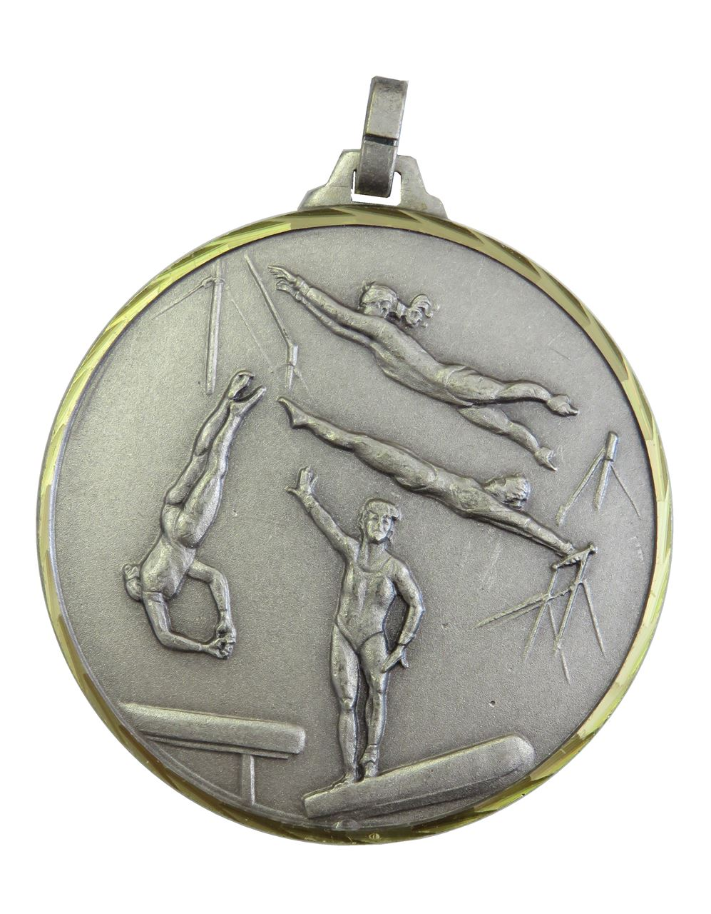 Silver Faceted Female Gymnastics Medal (size: 52mm) - 412/52S