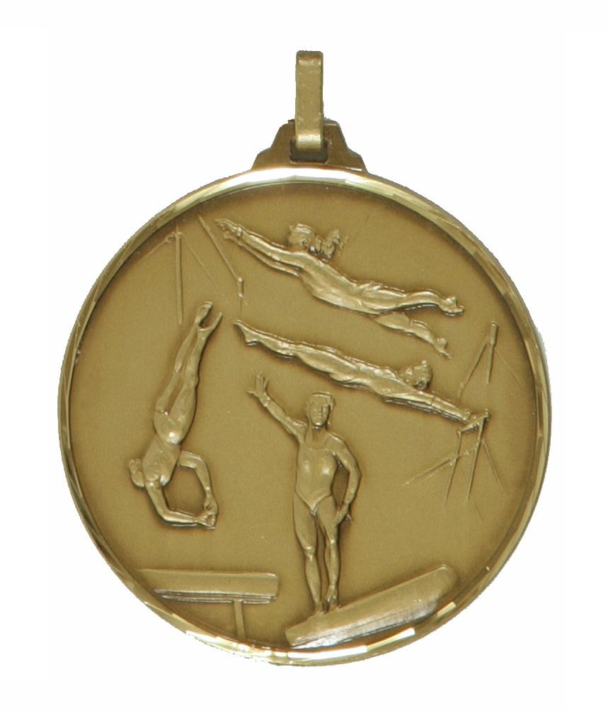 Bronze Faceted Female Gymnastics Medal (size: 52mm) - 412/52B