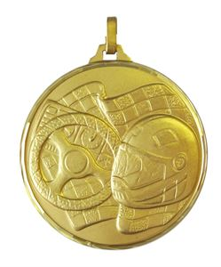 Gold Faceted Motor Sport Medal (size: 52mm) - 136/52G