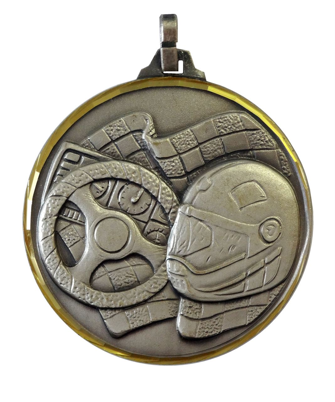 Silver Faceted Motor Sport Medal (size: 52mm) - 136/52S