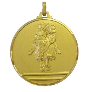 Gold Faceted Equestrian Medal (size: 42mm and 52mm) - 227F