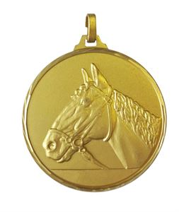Gold Faceted Horse Medal (size: 42mm and 52mm) - 230F