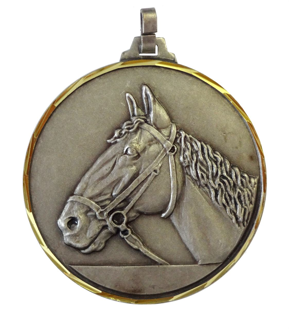 Silver Faceted Horse Medal (size: 42mm and 52mm) - 230F