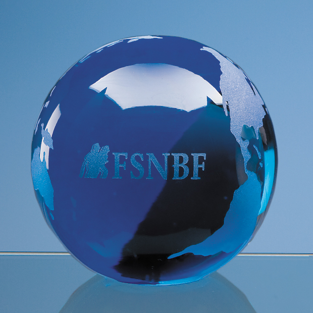 Sapphire Blue Optical Crystal Globe Paperweight - DY5