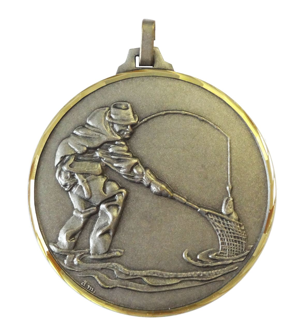 Silver Faceted Fishing Net Medal (size: 52mm) - 273/52S
