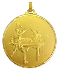 Gold Faceted Table Tennis Medal (size: 52mm) - 328/52G