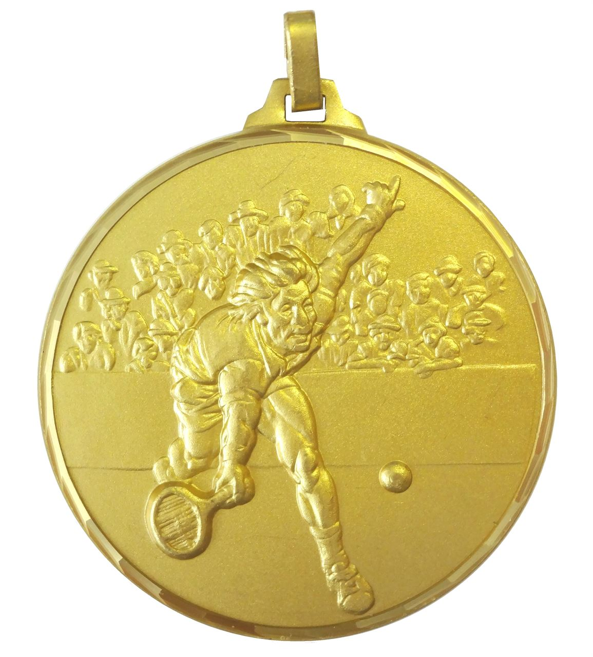 Gold Faceted Male Tennis Player Medal (size: 52mm) - 321/52G