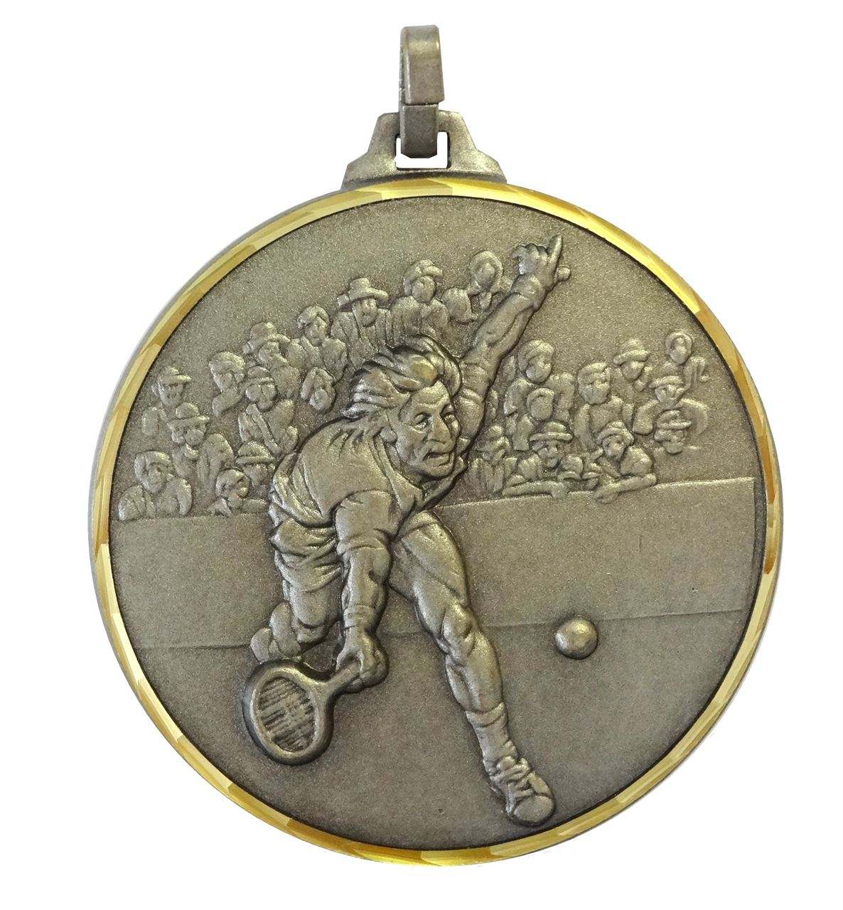 Silver Faceted Male Tennis Player Medal (size: 52mm) - 321/52S