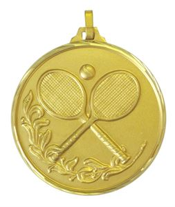 Gold Faceted Tennis Medal (size: 42mm) - 375F