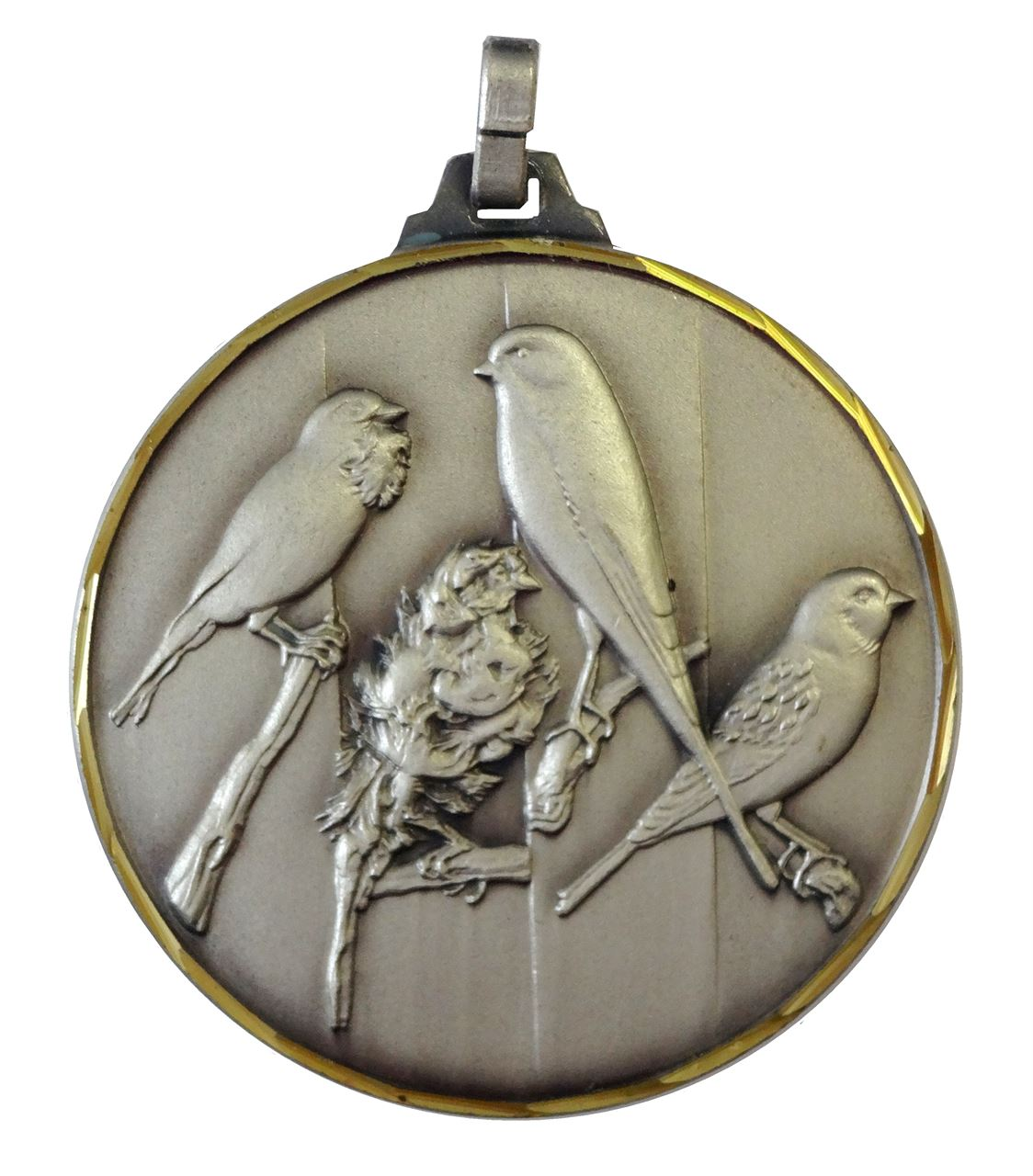 Silver Faceted Bird Medal (size: 52mm) - 341F