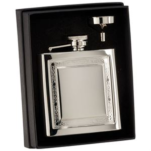 The Lochan Celtic Polished Steel Flask - PP15187