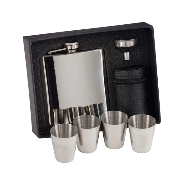 Aintree Polished Steel Flask and Cups - ST16154