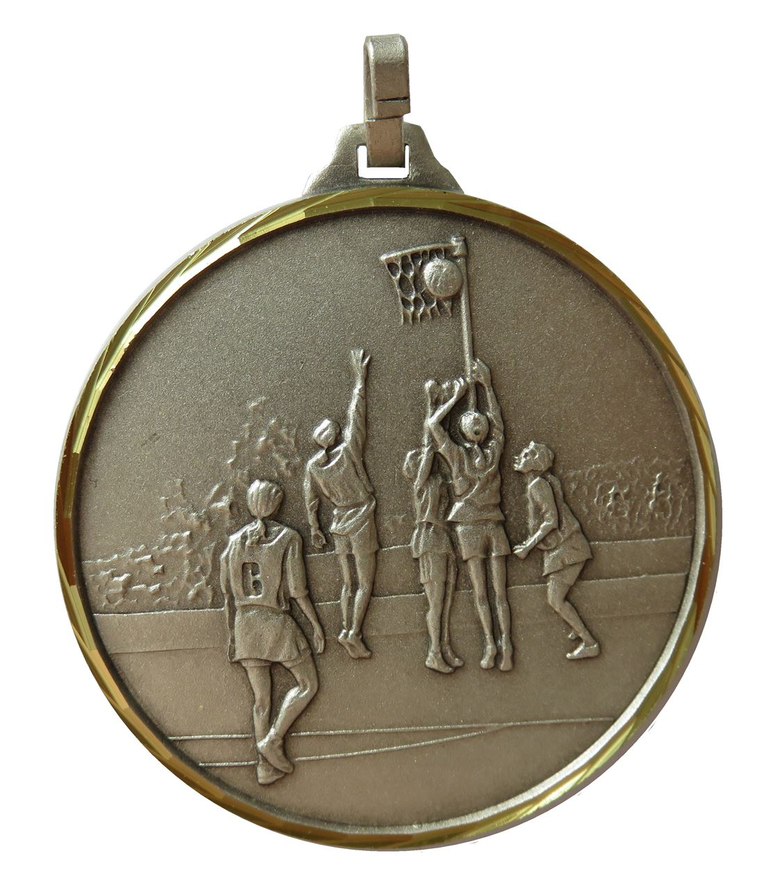Silver Faceted Netball Medal (size: 52mm) - 899F/52S