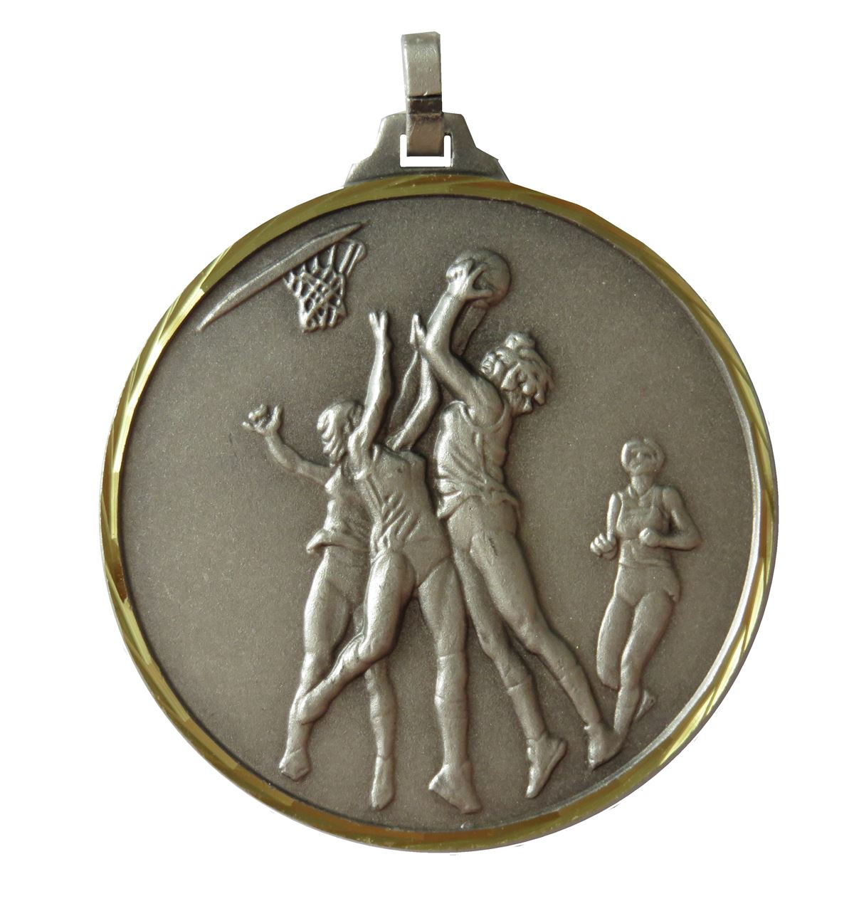 Silver Faceted Netball Medal (size: 42mm) - 255F