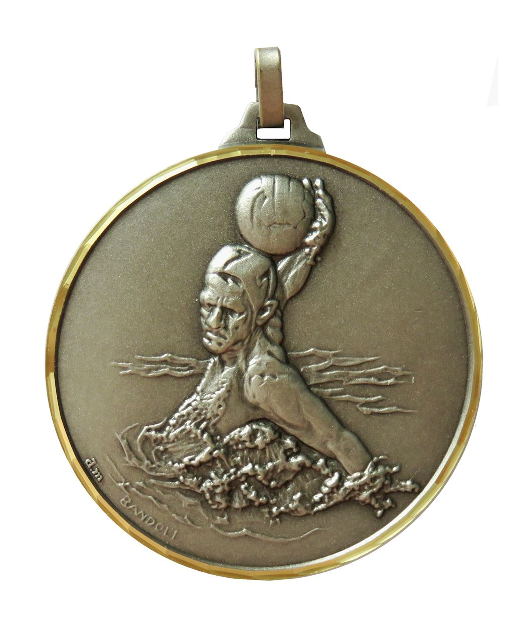 Silver Faceted Water Polo Medal (size: 52mm) - 258F