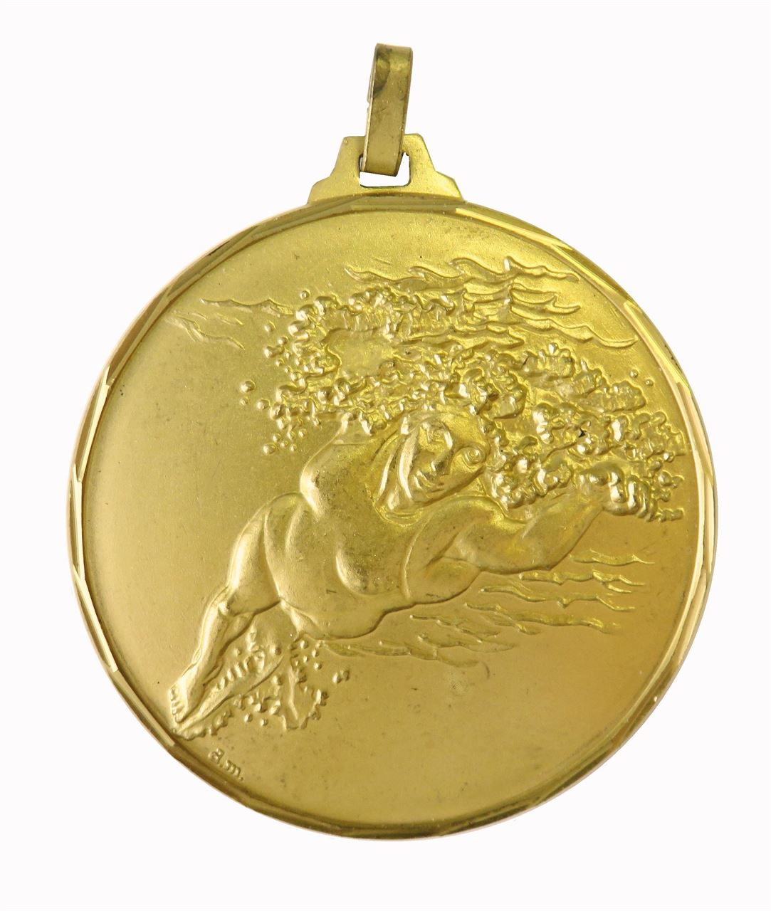 Gold Faceted Olympic Flag Athletes Medal (size: 52mm) - 222F