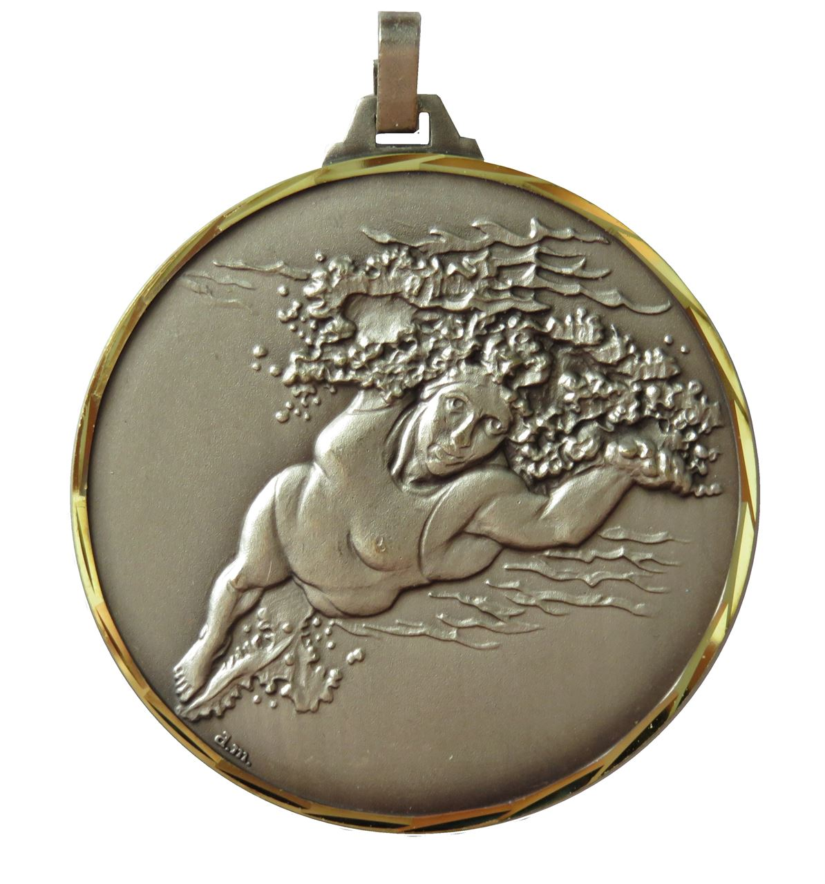 Silver Faceted Olympic Flag Athletes Medal (size: 52mm) - 222F