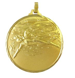 Gold Faceted Female Swimming Medal (size: 42mm) - 243F