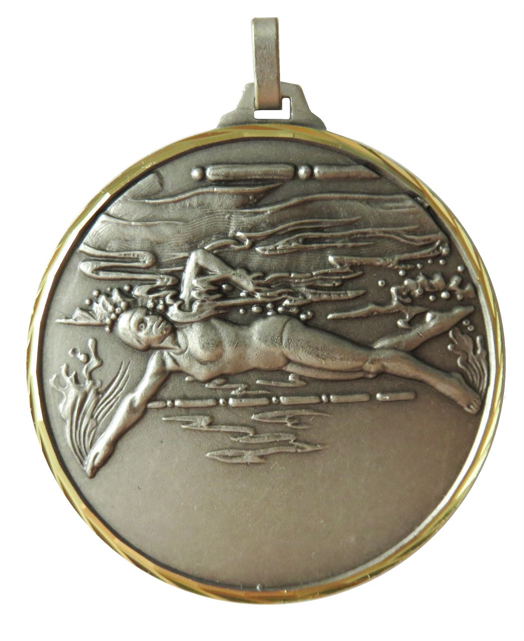 Silver Faceted Female Swimming Medal (size: 42mm) - 243F
