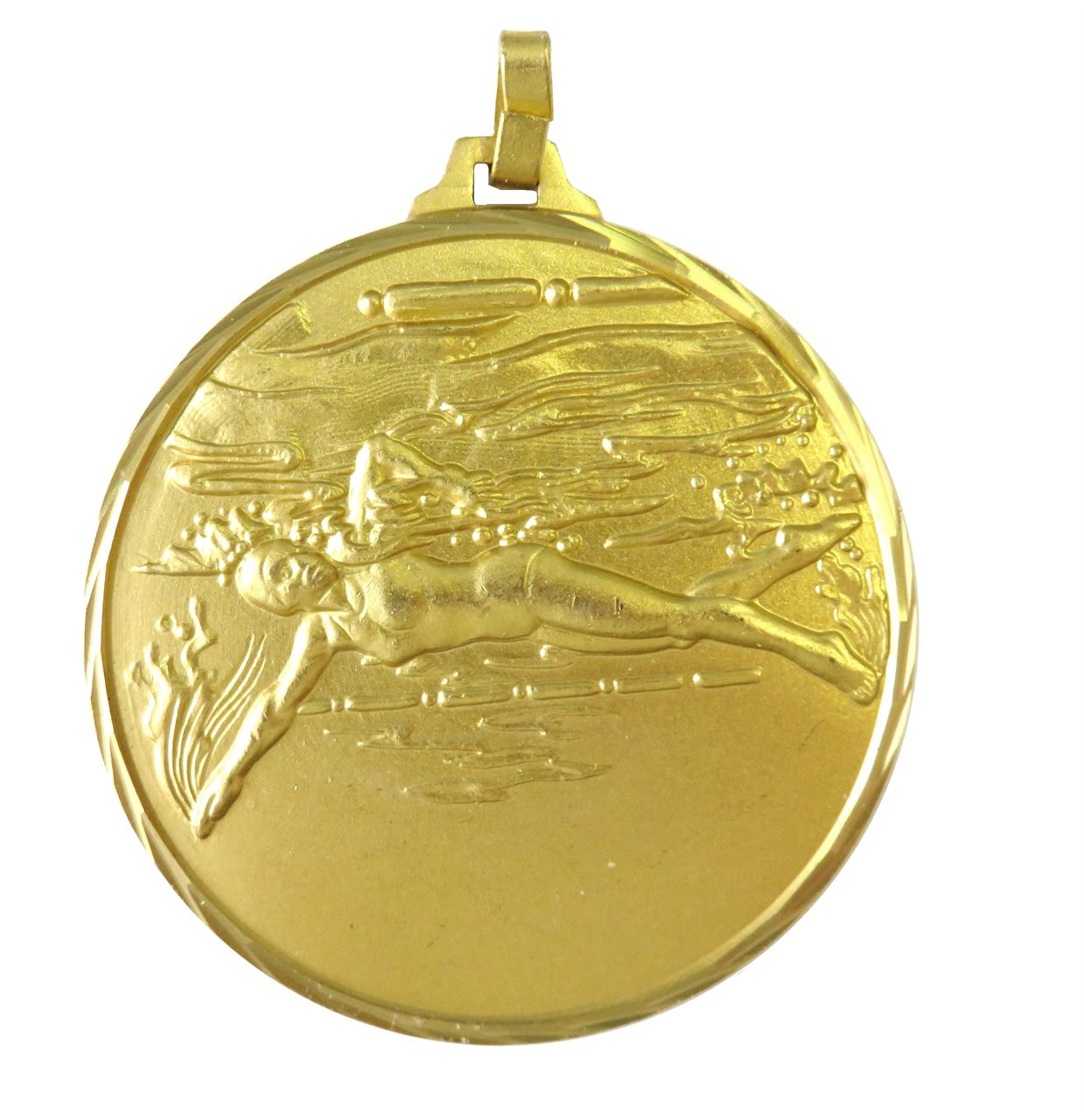 Gold Faceted Female Swimming Medal (size: 52mm) - 243F