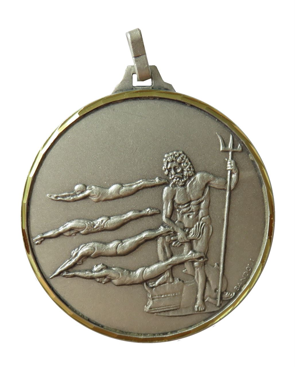 Silver Faceted Female Swimming Medal (size: 42mm) - 247F