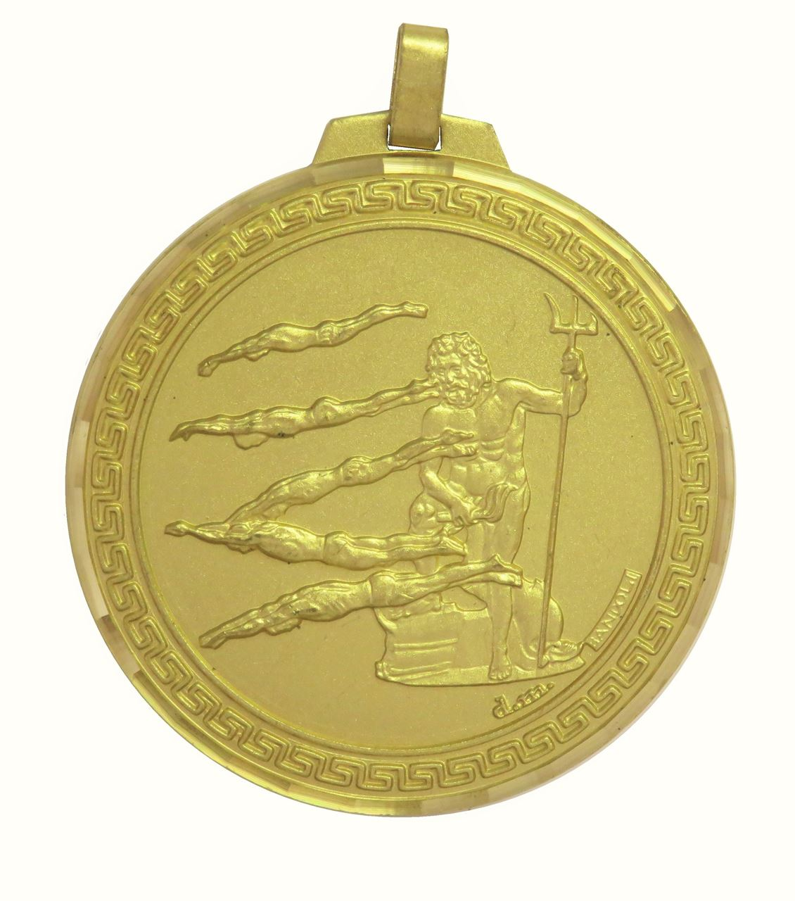 Gold Faceted Male Swimming Medal (size: 70mm) - 248F